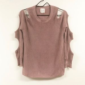Hippie Rose Cut Out Sleeve Sweater Pink